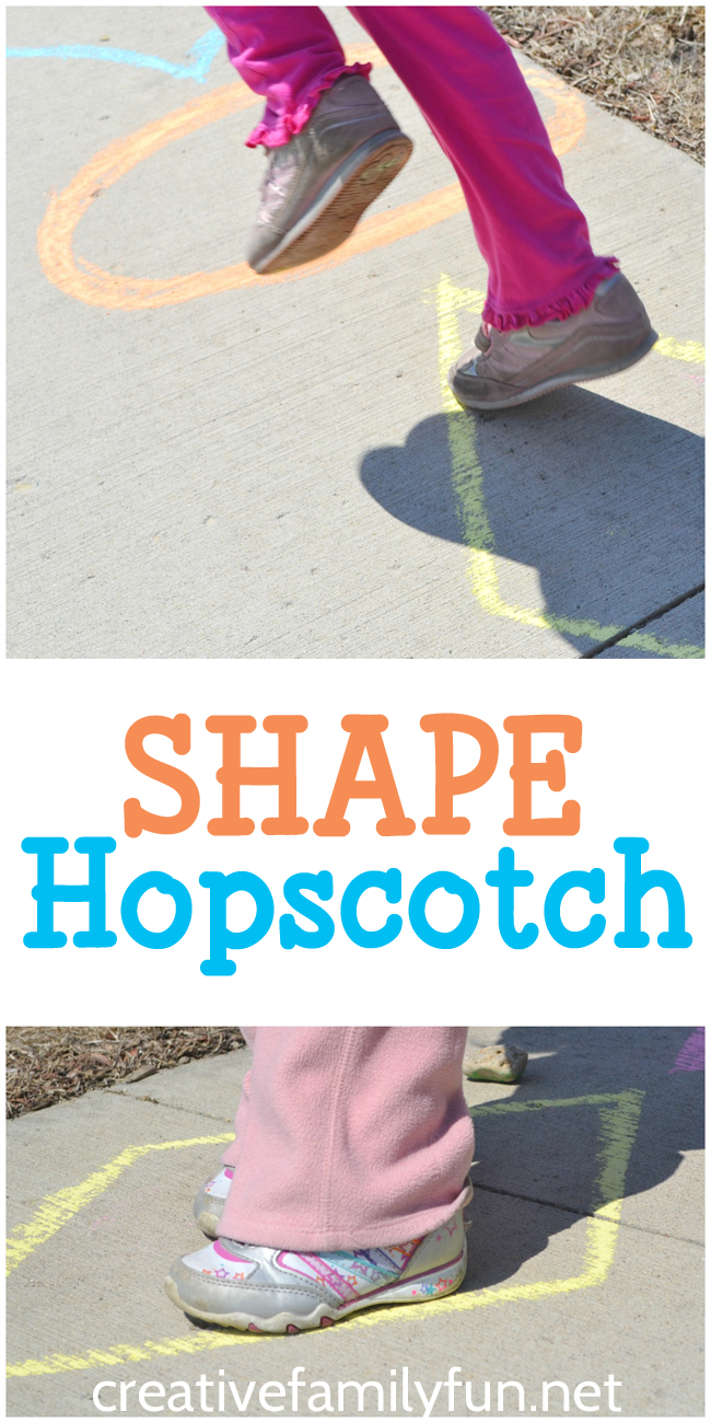 Get moving and get learning with this simple shape hopscotch game. It's perfect for toddlers and preschoolers.