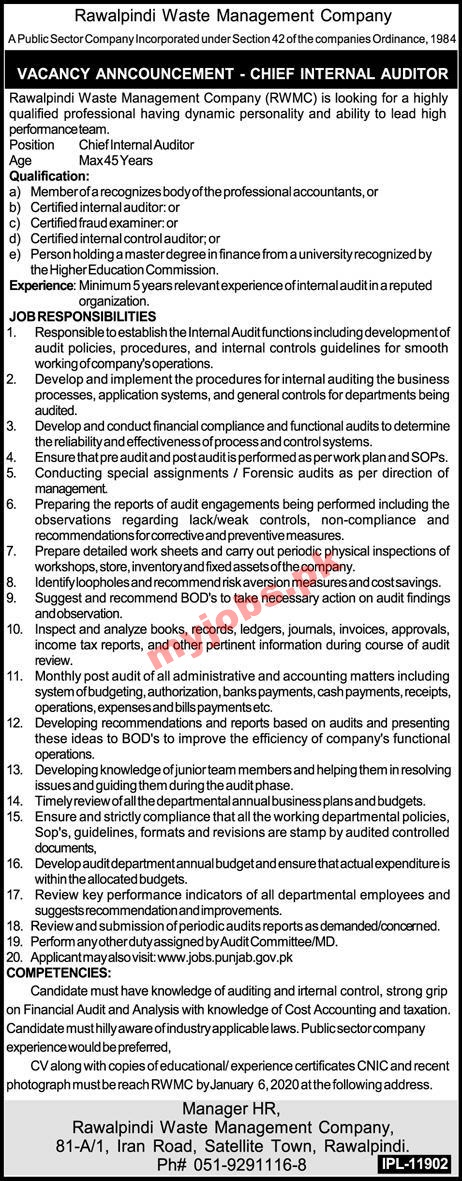 Rawalpindi Waste Management Company Vacant Position 2020 Apply Now