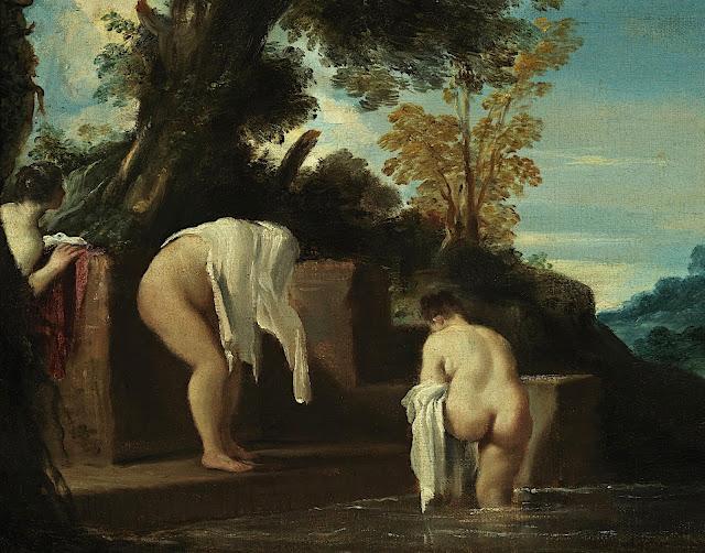 """Giovanni Francesco Barbieri, detto """"il Guercino"""": Paesaggio con bagnanti"""