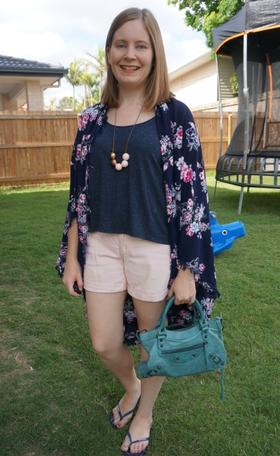 navy floral cocoon kimono with marle tee and pink cuffed shorts balenciaga first bag | awayfromblue