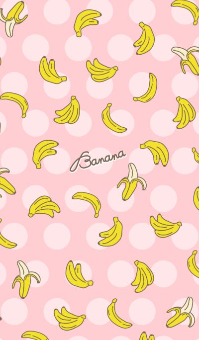 Banana - pink heart dot-