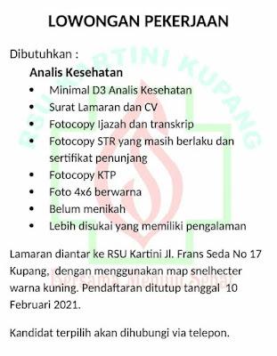 Loker Kupang Analis Kesehatan di RSU Kartini