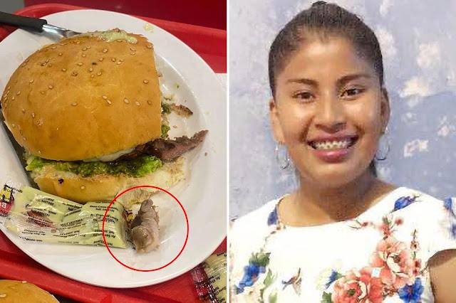 Donna che mangia un hamburger al fast-food morde un dito umano in decomposizione