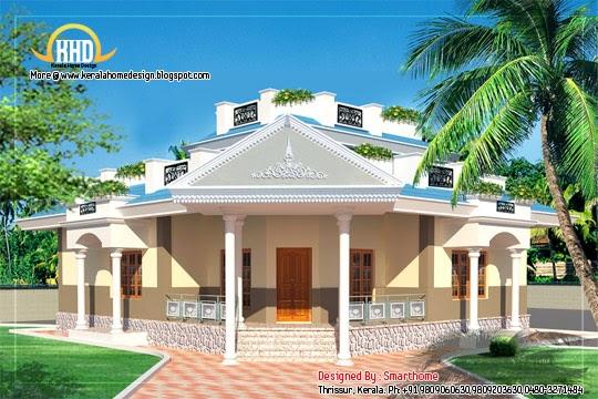 Single Floor Villa Elevation : Storied bedroom villa square feet kerala home