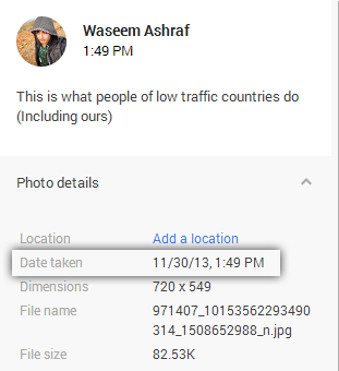 Location information on google+