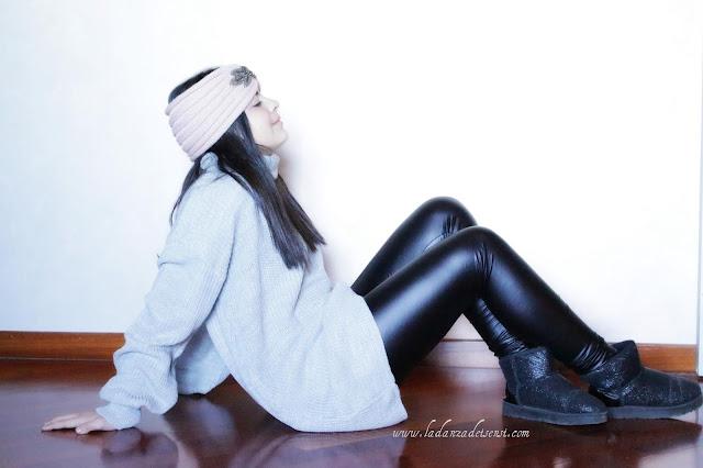 vestito di maglia grigio