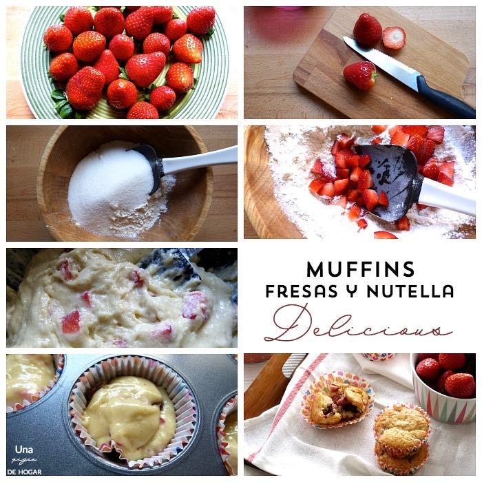 elaboración de muffins de fresas con chocolate paso a paso