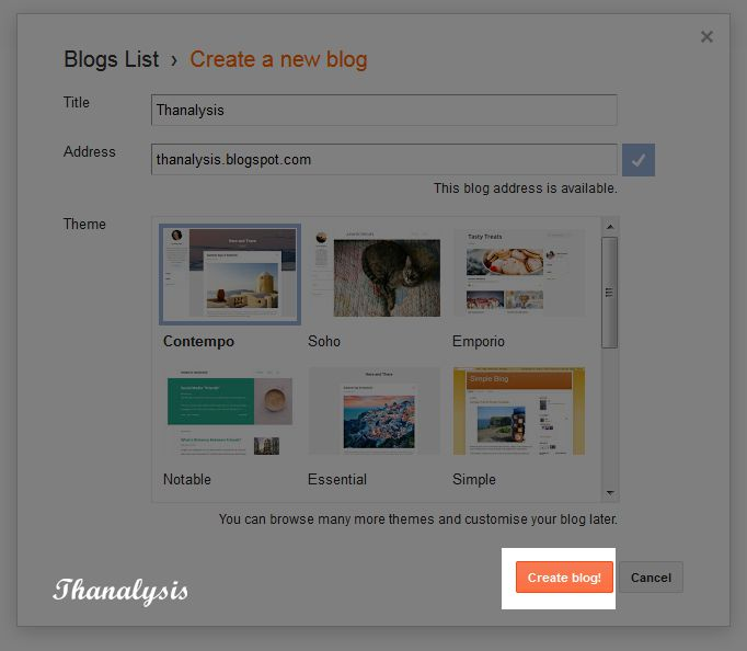 Press create a blog button to create a new blog instantly.