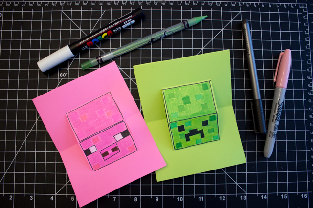 How to make a pop up Minecraft Pig and Creeper craft for kids