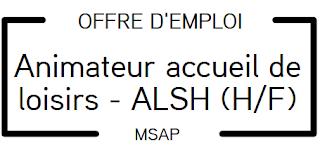 OFFRE D'EMPLOI : ANIMATEUR ACCUEIL DE LOISIRS SANS HEBERGEMENT (A.L.S.H.) (H/F)