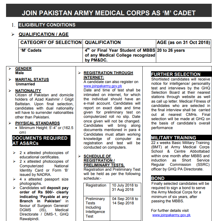 Join pak army medical corps as m cadet 2018 pak govt and private join pak army medical corps as m cadet 2018 thecheapjerseys Choice Image