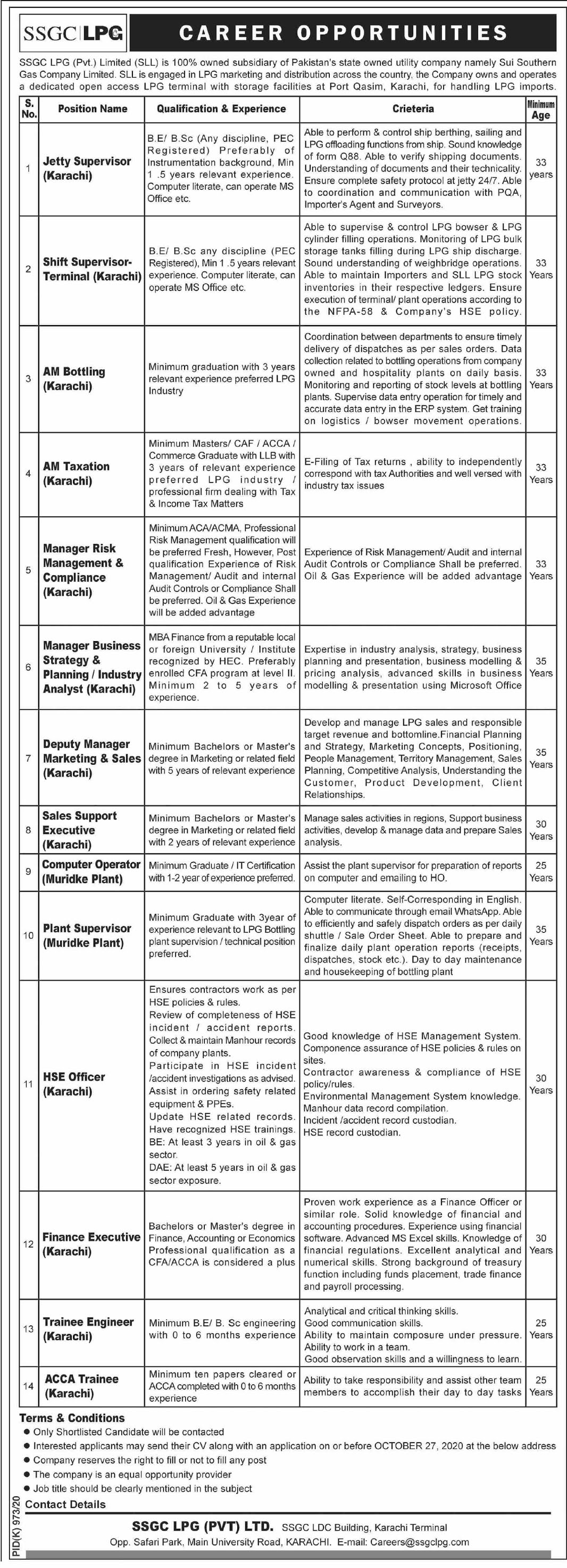 Sui Southern Gas Company Limited SSGC Jobs Latest 2020