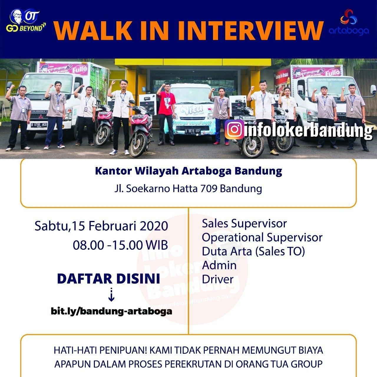 Walk In Interview PT. Arta Boga Cemerlang ( Orang Tua Group )  Bandung 15 Februari 2020