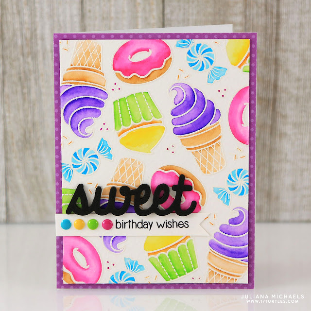 Sunny Studio Stamps: Sweet Shoppe Ice Cream Cone, Donuts & Cupcake Card by Juliana Michaels