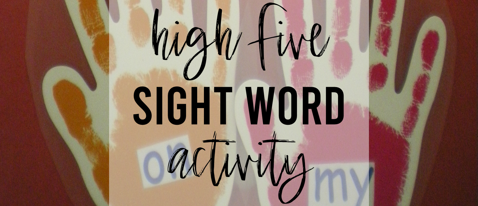 High Five sight word practice activity for Kindergarten