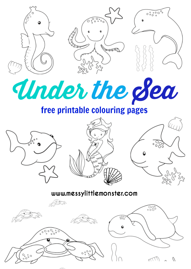 Under the Sea Colouring Pages Free Messy Little Monster