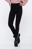 Pantaloni casual conici cu talie inalta cu dungi verticale roz deschis •