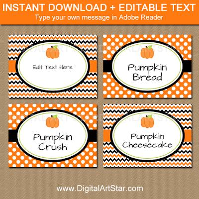 pumpkin food labels, pumpkin place cards, pumpkin candy buffet labels for halloween party