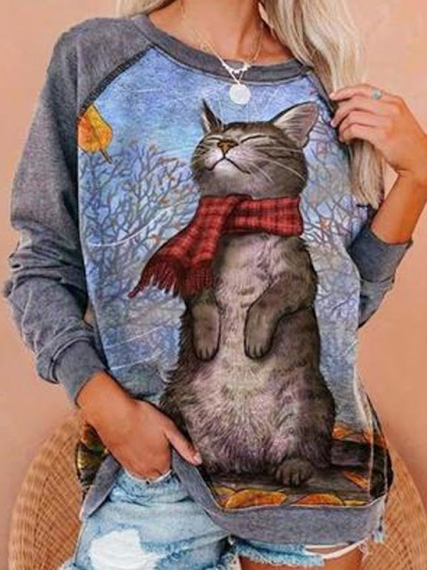 Casual Cat Print Loose Sweatshirt