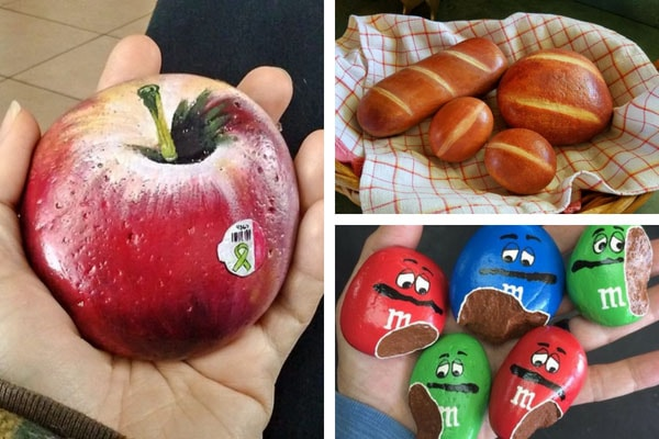 24 rock painting ideas that look like food