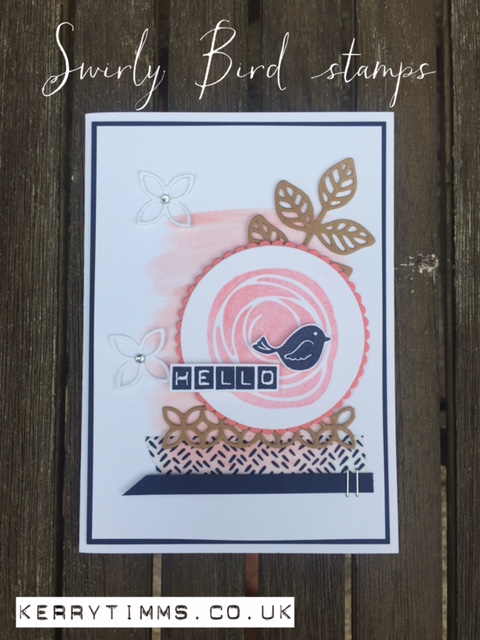 swirly bird stamps handmade card greeting craft crafts create creative papercraft scrapbook memory keeping class gloucester gloucestershire kerry timms stampin up flower bird socialise female hobby make