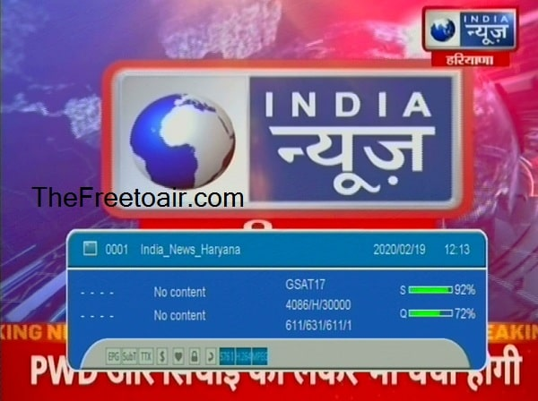 India News Haryana Channel ki Frequency Kya hai, GSAT 17 Satellite Par