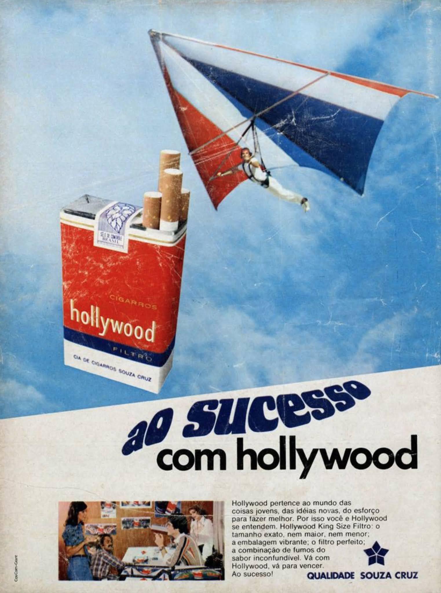 Propaganda antiga veiculada em 1975 promovendo os Cigarros Hollywood.