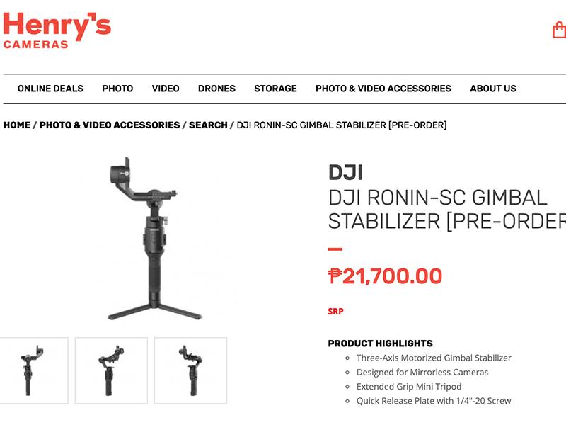 DJI Ronin-SC Henry's Professional Camera listing