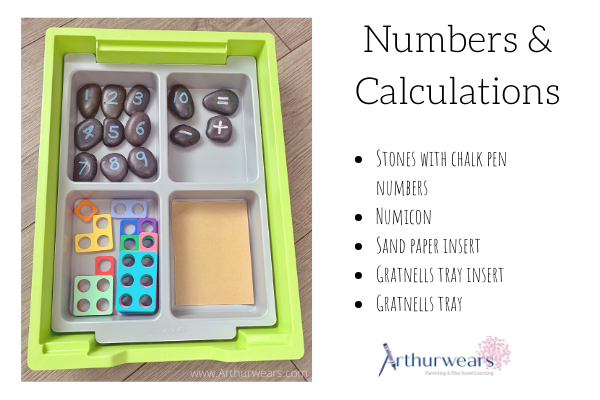Numbers and calculating small tuff tray idea