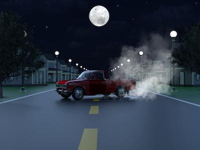 3D Red mini pickup truck background