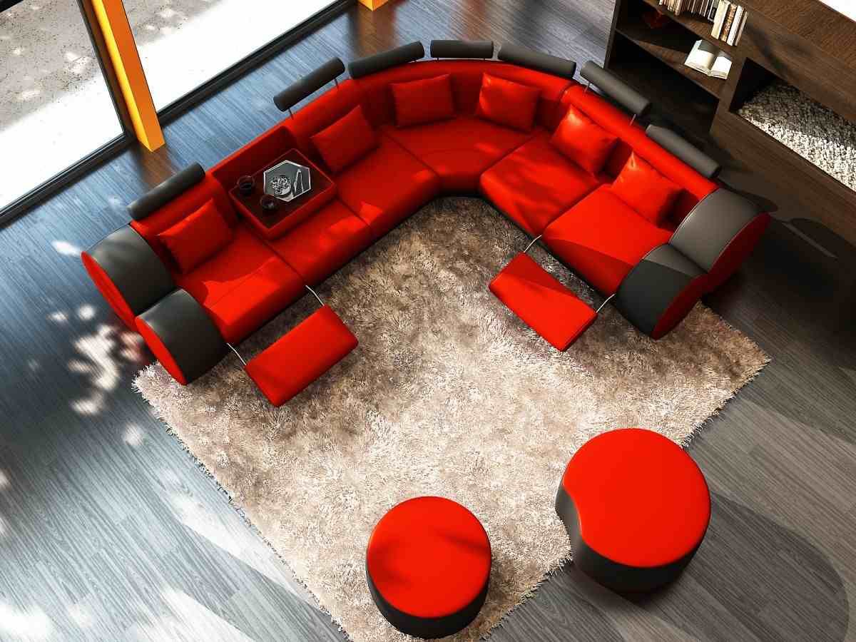 red leather sofa to decorate living room modern house pictures