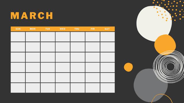 Calendario negro marzo 2020