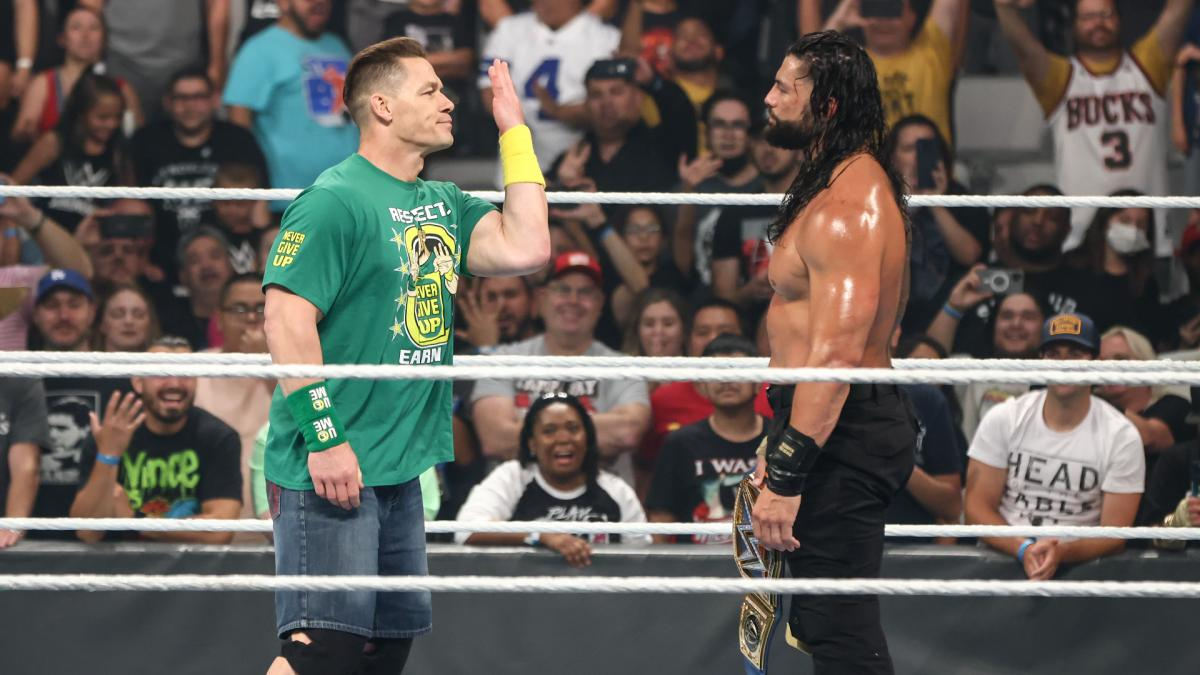 John Cena and Roman Reigns at WWE Money in the Bank 2021
