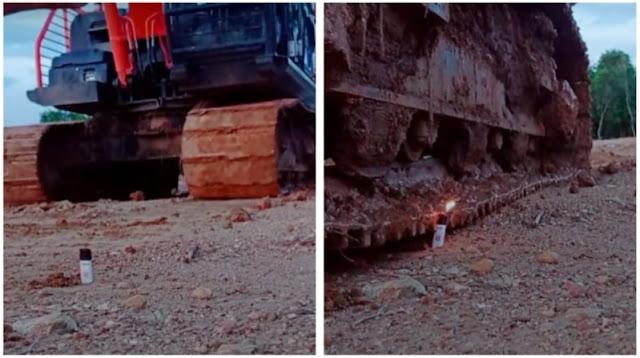 Viral Pria Ini Nyalakan Korek Gas Pakai Excavator, Netizen Berdecak Kagum
