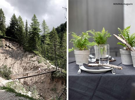 Tischdeko mit Naturfundstücken - alpine Tischdeko