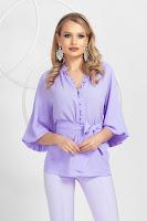 Bluza lila cu cordon detasabil si nasturei