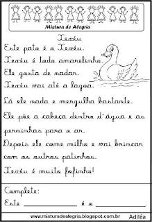 Pequenos textos para alfabetização com pato