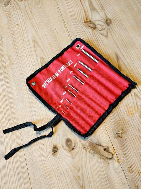 Neunteiliges Splinttreiber Set für Büchsenmacher mit Tragetasche