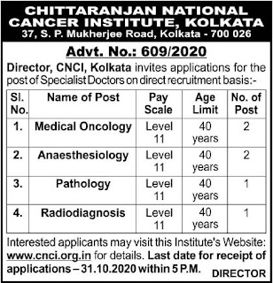 CNCI Kolkata 2020 indgovtjobs