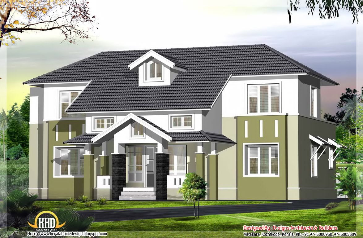 2400 sloping roof house elevation kerala home for Roof and floor