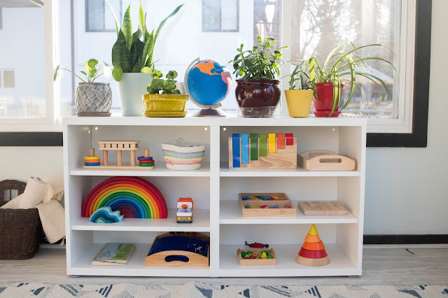 A Shelfie of our Montessori play shelf.