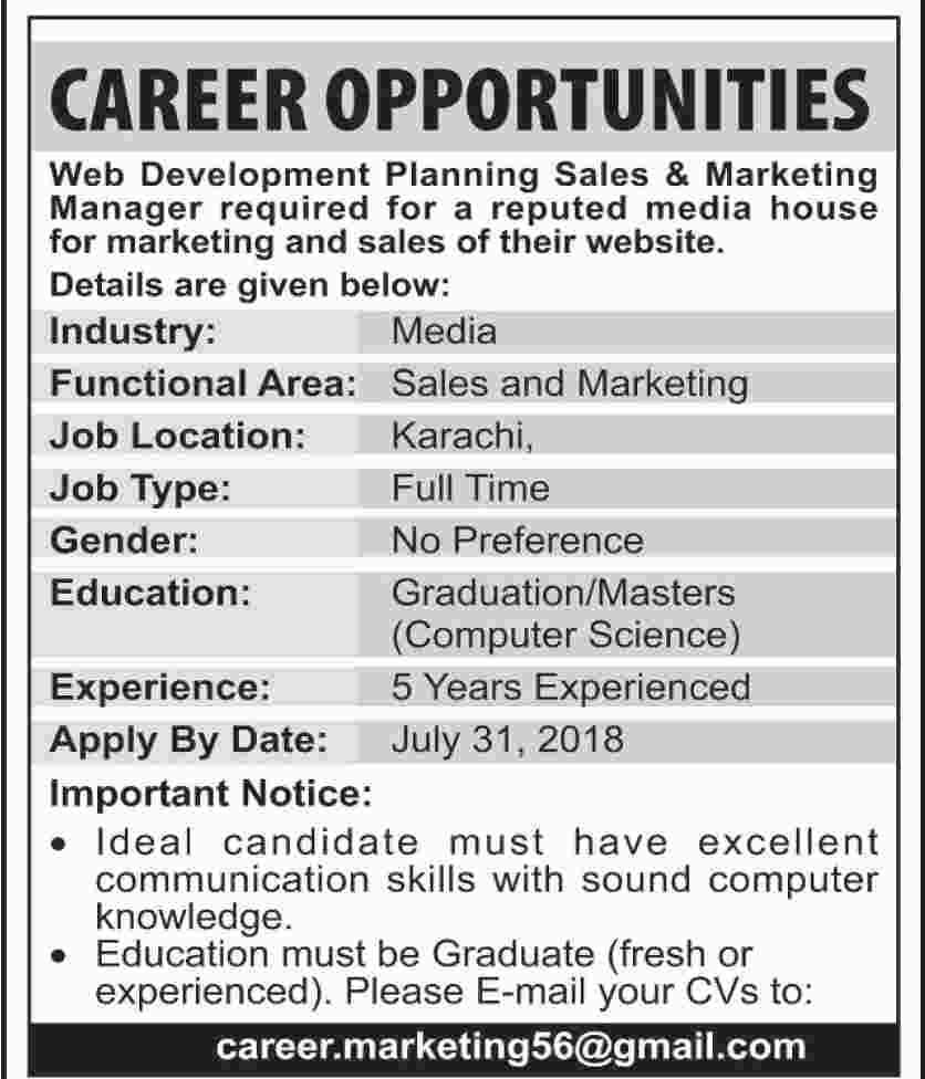 Private Jobs in Karachi in Web Development Planning and marketing
