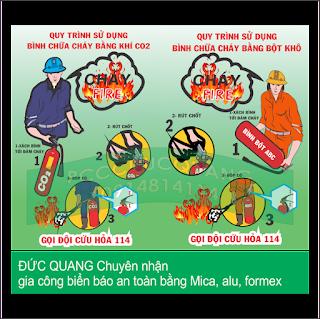 Bảng báo hướng dẫn sử dụng bình chữa cháy