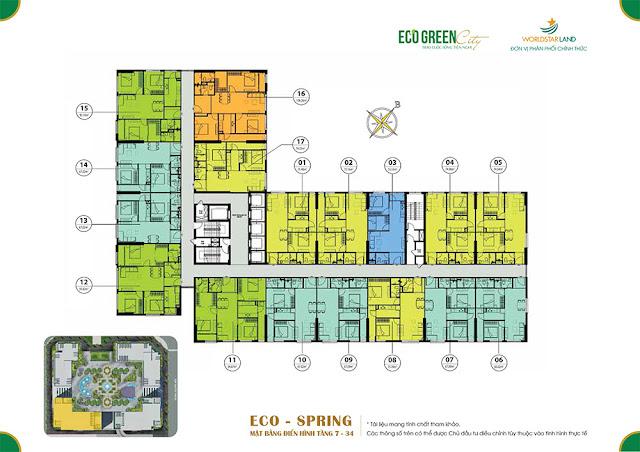 Mặt bằng căn hộ tòa Eco Spring