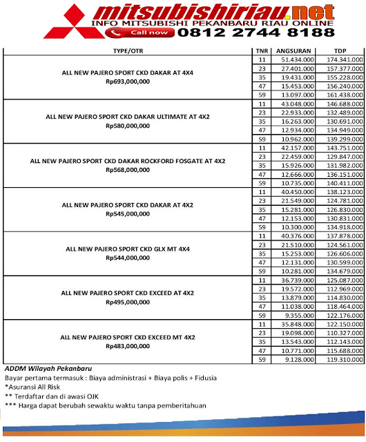 Paket Kredit Mitsubishi Pajero Sport Pekanbaru Riau Februari 2019