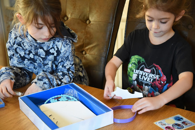 Girls making frozen tiara kit