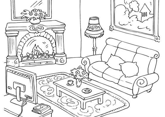 Hình tô màu phòng khách có lò sưởi