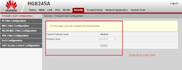 Firewall Modem Indihome Huawei HG8245H Tidak bisa di setting dan di konfigurasi