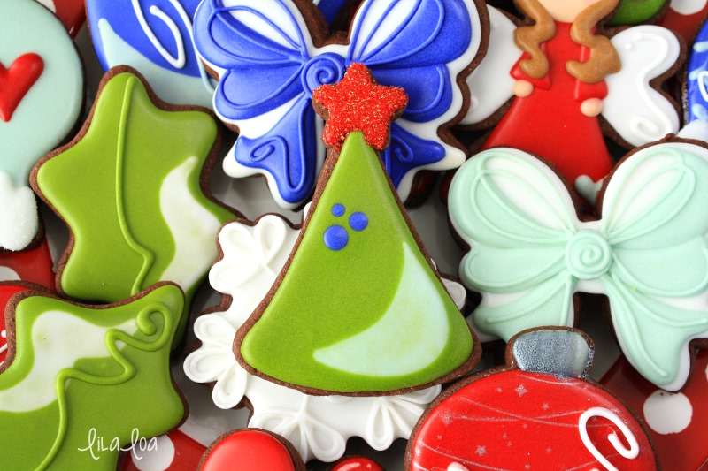 Brightly colored decorated Christmas sugar cookies