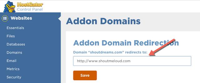 menggunakan fitur redirection domain di hostgator